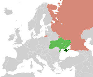Map of Russia and the Ukraine