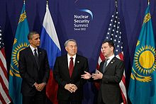President Nazarbayev Flanked By American And Russian Presidents
