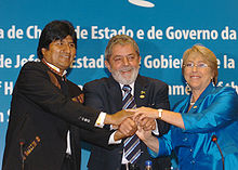 President Bachelet With Evo Morales From Bolivia And Lula Da Silva From Brazil