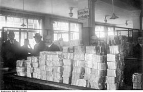 Piles Of New Bank Notes Awaiting Distribution At The Reichsbank During The Hyperinflation