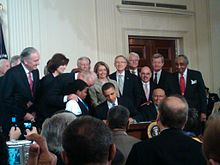President Barack Obama Signing The Patient Protection And Affordable Care Act Into Law At The White House On March 23, 2010.