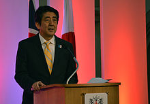 Prime Minister Abe discussing his economic policies in a speech in London, June 2013.