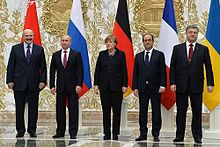 Leaders of Belarus, Russia, Germany, France, and Ukraine at Minsk II summit, 2015.