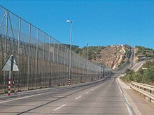 The Melilla border fence In Spain