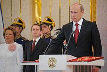 Putin taking the presidential oath at his 3rd inauguration ceremony, 7 May 2012