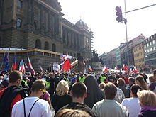 "Anti-immigration rally called ""For our culture and safe country"" in Prague, Czech Republic on 12 September 2015. According to the poll, over 70% of Czechs reject migration from the Middle East and Africa."