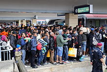 Wien (Vienna) Westbahnhof railway station on 5 in Austria September 2015: migrants on their way to Germany