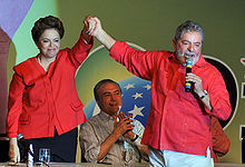 Dilma Rousseff with Lula during the 2010 presidential campaign.