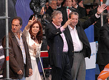 Campaigning with her husband, then-President Néstor Kirchner (outgoing), and their respective running mates, Daniel Scioli and Julio Cobos.
