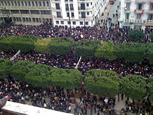 Protesters on Avenue Habib Bourguiba, downtown Tunis on 14 January 2011, a few hours before president Zine El Abidine Ben Ali fled the country