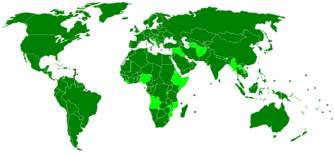 IMF Member states are seen in dark green. Light green are those countries not accepting full obligations