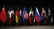 The signatories announcing the nuclear agreement with Iran in July 2015.