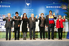 Cristina Kirchner with fellow presidents of the Mercosur.
