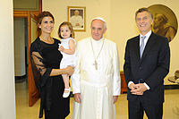 President-elect Macri with his wife Juliana Awada and her daughter Antonia meeting Pope Francis.