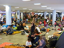 Migrants in Budapest railway station, with most heading to Germany, 4 September 2015