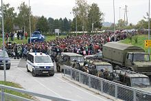 Arrival of migrants in Dobova, Slovenia