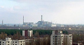 The view of Chernobyl Nuclear Power Plant taken from the city of Pripyat