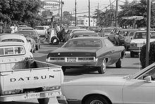Line at a gas station in Maryland, United States, June 15, 1979