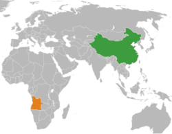 China (in green) and Angola (in orange) relationship