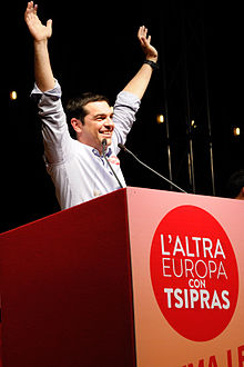Tsipras in Bologna, Italy giving a speech for The Other Europe alliance.