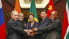 The BRICS leaders in 2014. Left to right: Putin from Russia, Modi from India, Rousseff from Brazil, Xi from China and Zuma from South Africa.