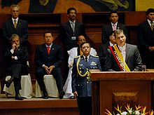 Rafael Correa during his inaugural speech as president of Ecuador