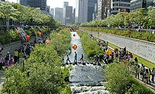 Cheonggyecheon river is a modern public recreation space in downtown Seoul, South Korea.
