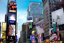 The prominent Samsung sign in Times Square, New York City.