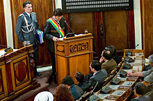 President Evo Morales of Boliva addressing Parliament