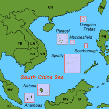 Locations in the South China Sea. Ownership of these islands are in dispute by surrounding nations.