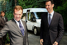 Bashar Al Assad with Russian President Dmitry Medvedev whilst on a visit to Sochi in August 2008.