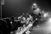 Migrants waiting for their entry to Germany