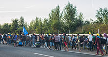 Migrants in Hungary on their march towards Austria