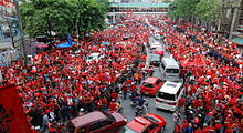 United Front for Democracy Against Dictatorship, Red Shirts, protest on Ratchaprasong intersection in 2010.