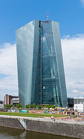The seat of the European Central Bank in Frankfurt Germany. 19 of the 28 EU member states have adopted the euro as their legal tender.
