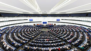 The European Parliament's hemicycle (debating chamber) during a plenary session in Strasbourg.