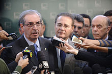 Cunha holds a joint press conference with President of the Federal Senate, Renan Calheiros, and other Congress members,  May 21, 2015.