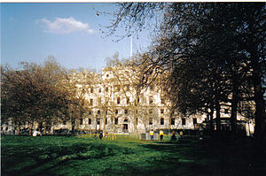 The Treasury building viewed from St. James' Park in London