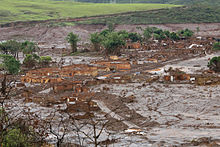 A Brazilian village flooded in the dam disaster of 2015.