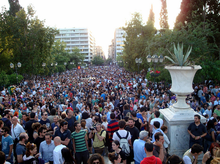 Demonstrators in the plaza in front of the Greek parliament.