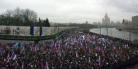 Tens of thousands march in Moscow in memory of Boris Nemtsov, March 1, 2015