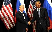 Putin meets with U.S. President Barack Obama in New York City, September 29, 2015
