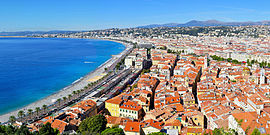 Panoramic view of the old city of Nice, France and the Promenade des Anglais