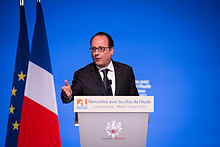 Hollande during a meeting in Carcassonne France.