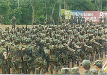 FARC guerrillas marching in formation.