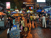 Khao San Road in Bangkok is lined by budget accommodation, shops and bars catering to tourists.