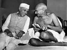 Jawaharlal Nehru (left) became India's first prime minister in 1947. Mahatma Gandhi (right) led the independence movement.