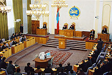 The National Assembly, the State Great Khural chamber in session.