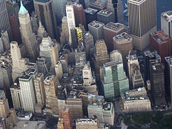 Wall Street in the New York financial district, as seen from the air