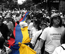 Demonstration against the violent actions carried out by armed groups such as the FARC and the ELN.